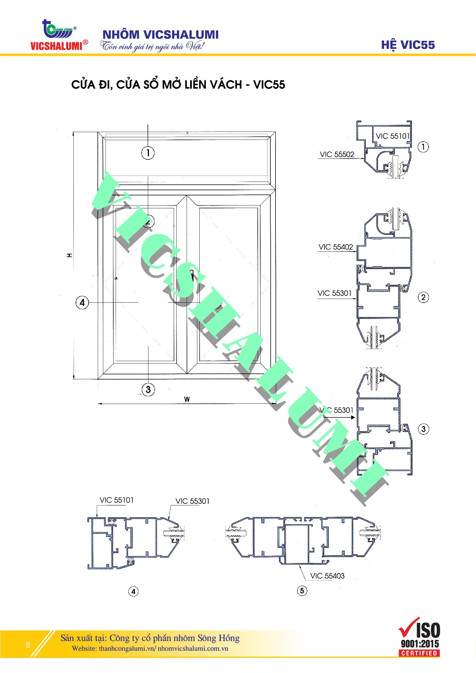 Cửa Đi, Cửa Sổ Mở Liền Vách - VIC55