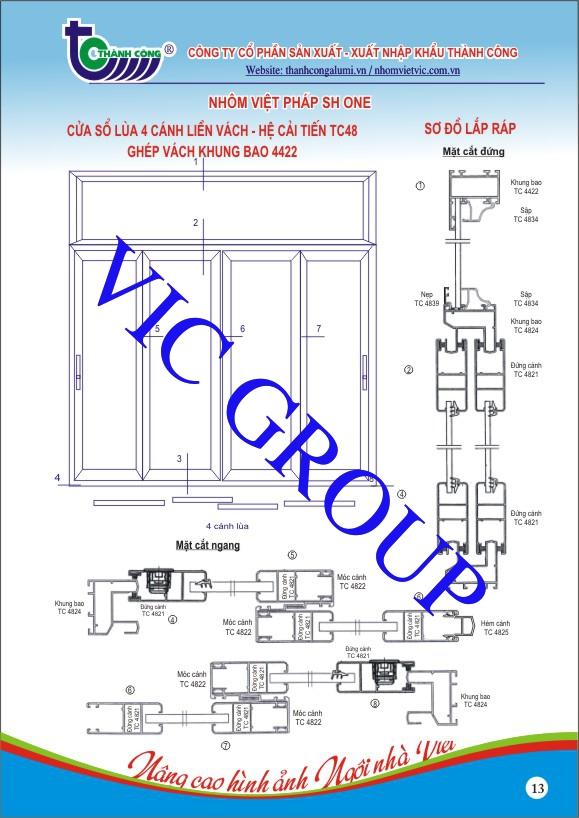 Cửa Sổ Lùa 4 Cánh Liền Vách - Hệ Cải Tiến TC48 Ghép Vách Khung Bao 4422